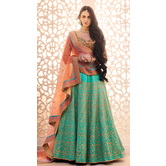 Craftsvilla Teal Green Color Dupion Embroidered Wedding Lehenga