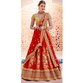 Craftsvilla Red Color Chiffon Embroidered Wedding Lehenga