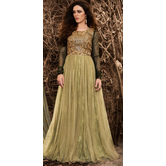 Sutva Black And Green Color Raw Silk Embroidered Semi-stitched Gown