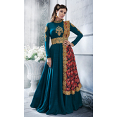 Sutva Turquoise Color Georgette Embroidered Semi-stitched Gown