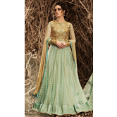 Sutva Beige And Green Color Raw Silk Embroidered Semi-stitched Gown