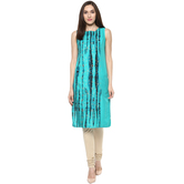 Anuswara Turquoise Color Block Printed Knee Length Straight Kurti