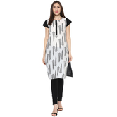 Anuswara White Color Block Printed Knee Length Straight Kurti