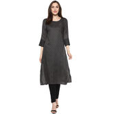Anuswara Grey Color Block Printed Calf Length Straight Kurti