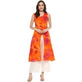 Anuswara Orange Color Aztec Print Calf Length A Line Style Kurti