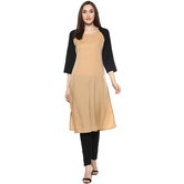 Anuswara Brown Color Solid Calf Length Straight Kurti