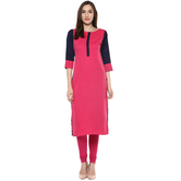 Anuswara Pink Color Solid Calf Length Straight Kurti