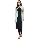 Anuswara Sky Blue Color Solid Calf Length Straight Kurti