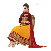 Craftsvilla Yellow & Red Georgette Embroidered Anarkali Dress Material