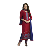 Craftsvilla Red Cotton Embroidered Anarkali Dress Material