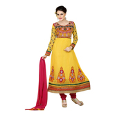 Craftsvilla Yellow Georgette Embroidered Anarkali Dress Material