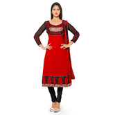 Craftsvilla Red Georgette Embroidered Anarkali Dress Material