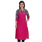Anuswara Pink Color Cotton Plain Calf Length Straight Kurti