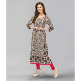 Anuswara Grey Color Cotton Dabu Printed A-line Kurti
