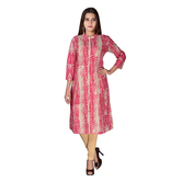 Anuswara Pink Color Cotton Printed Calf Length A Line Style Kurti
