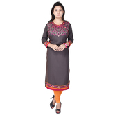 Anuswara Grey Color Rayon Embroidered Calf Length Straight Kurti