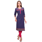 Anuswara Blue Color Cotton Plain Calf Length Straight Kurti