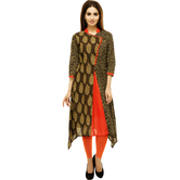 Anuswara Brown Color Cotton Printed Knee Length A Line Style Kurti