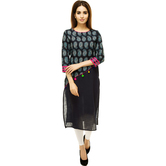 Anuswara Blue Color Cotton Printed Calf Length Straight Kurti