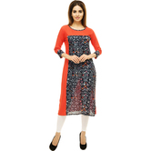 Anuswara Orange Color Rayon Printed Calf Length Straight Kurti