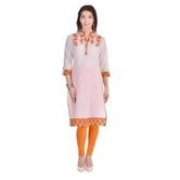 Anuswara White Color Cotton Embroidered Knee Length Kurti