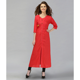 Anuswara Red Color Cotton Solid Kurti