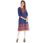 Anuswara Blue Color Cotton Printed Knee Length Kurti