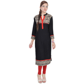 Anuswara Black Color Rayon Embroidered Knee Length Kurti