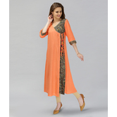 Anuswara Orange Color Cotton Printed Angrakha Kurti