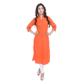 Anuswara Orange Color Cotton Printed Knee Length Kurti
