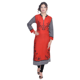Anuswara Red Color Rayon Printed Knee Length Kurti