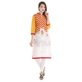 Anuswara Yellow Color Cotton Printed Knee Length Kurti