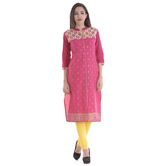Anuswara Pink Color Cotton Printed Knee Length Kurti