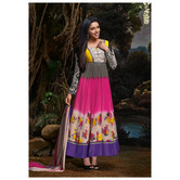 Sutva Multicolor Color Frock Style Printed Rayon Anarkali Suit
