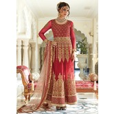Sutva Maroon Color Net Embellished Semi-stitched Wedding Anarkali Gown