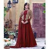 Sutva Maroon Color Georgette Embroidered Anarkali Gown