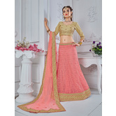 Craftsvilla Peach Net A-line Semi-stitched Lehenga Choli