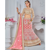 Craftsvilla Peach Color Net A-line Semi-stitched Lehenga Choli