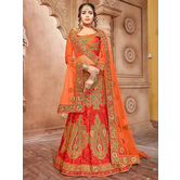 Craftsvilla Orange Pure Silk A-line Semi-stitched Lehenga Choli