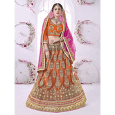 Craftsvilla Orange Color Embroidered Net Lehenga Choli With Un-stitched Blouse