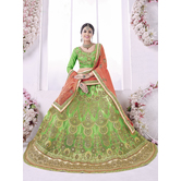 Craftsvilla Green Color Embroidered Net Lehenga Choli With Un-stitched Blouse