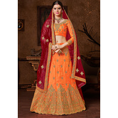 Sutva Orange Banglori Silk A-line Semi-stitched Lehenga Choli