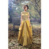 Sutva Mustard And Brown Color Net And Viscose Semi Stitch Gown