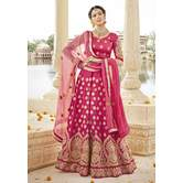 Sutva Magenta Color Embroidered Art Silk Bridal Lehenga Choli