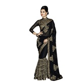 Craftsvilla Black Georgette Embroidered Saree With Blouse