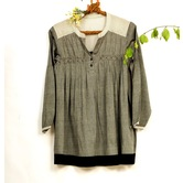Miraasa Grey Cotton Handwoven Round Neck Long Sleeves Formal Top