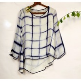 Miraasa Blue Linen Shibori Round Neck Long Sleeves Formal Top