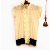 Miraasa Off White Handloom Solid Khadhi Short Sleeve Top