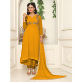 Craftsvilla Yellow Color Georgette Embroidered Round Neck Circular Semi-stitched Anarkali Suit
