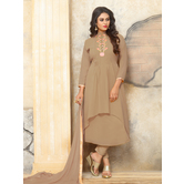 Craftsvilla Beige Color Georgette Embroidered Semi-stitched A Line Style Salwar Suit